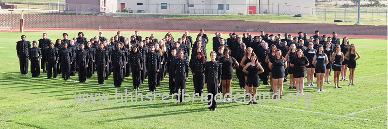 band pano 1-1.  This is a 3-shot panorama of the 2013 HHHS Red Brigade Band.